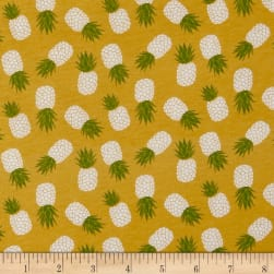 Riley Blake Havana Pineapple Jersey Knit Yellow Fabric