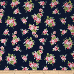 Riley Blake Love Floral Jersey Knit Blue Fabric
