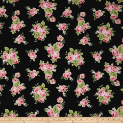 Riley Blake Love Floral Jersey Knit Charcoal Fabric