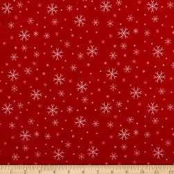 Riley Blake Jingle Jangle Snowflake Flannel Red