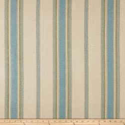 Laura & Kiran Canyon Stripe Canvas Natural/Green/Blue Fabric