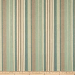 Laura & Kiran Island Stripe Canvas Aqua/Flax Fabric