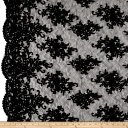 Telio Veronica Lace Embroidery Black Fabric
