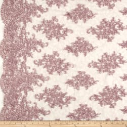 Telio Veronica Lace Embroidery Dusty Rose Fabric