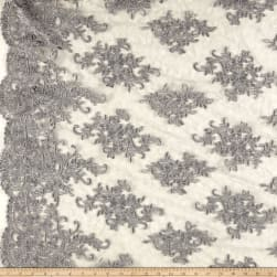 Telio Veronica Lace Embroidery Silver Fabric