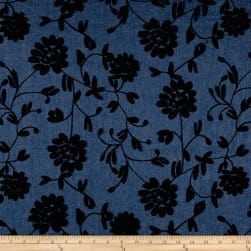 Telio Embroidered Chambray Black Fabric