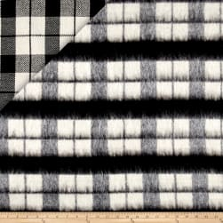 Telio Kaori Plaid Stripe Brushed Coating Black/White Fabric