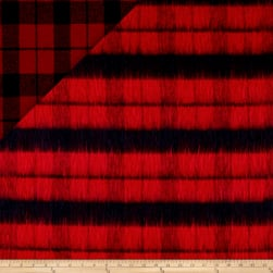 Telio Kaori Plaid Stripe Brushed Coating Red/Navy Fabric