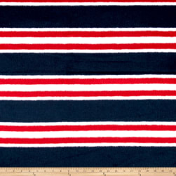 Telio Fumiko Stripe Faux Wool Navy/Red/White Fabric
