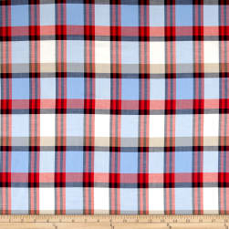 Plaid Yarn-Dyed Lawn Powder Blue/Cream/Red Fabric