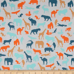 Stof Avalana Jersey Knit Jungle Animals Grey Fabric