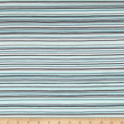 Stof Avalana Jersey Knit Stripe Black/Aqua/Blue Fabric