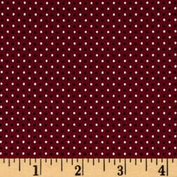 Stof Avalana Jersey Knit Dots White/Burgundy Fabric
