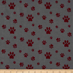 Stof Avalana Jersey Knit Paw Prints Grey/Red Fabric