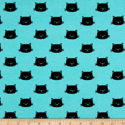 Stof Avalana Jersey Knit Cat Faces Black/Turquoise Fabric