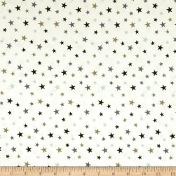 Stof Avalana Jersey Knit Small Stars Blue/Black/Grey Fabric