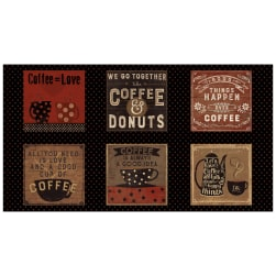 "Espresso Yourself Say It With Coffee 24"" Panel Black"