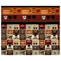 Espresso Yourself Coffee Blocks Double Border Multi Fabric