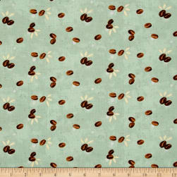 Espresso Yourself Coffee Beans Mint Fabric