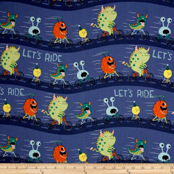 Super Bad Monsters Monster Ride Dark Denim Fabric