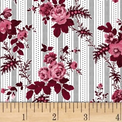 Rouge et Noir Floral Stripe White Fabric