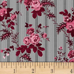 Rouge et Noir Floral Stripe Light Gray Fabric