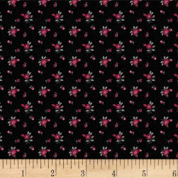 Rouge et Noir Mini Floral Black Fabric