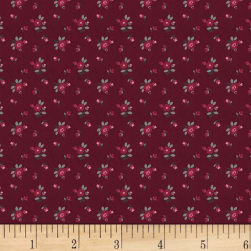 Rouge et Noir Mini Floral Dark Red Fabric