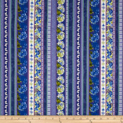Heavenly Hydrangeas Royal Blue Fabric
