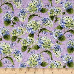 Heavenly Hydrangeas Light Purple Fabric