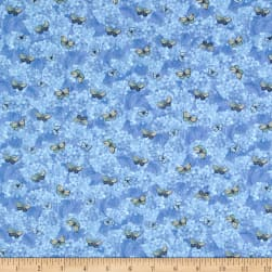 Heavenly Hydrangeas Denim Fabric