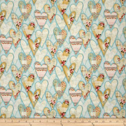 Love Song Hearts Light Teal Fabric