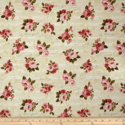 Love Song Big Roses Khaki Fabric