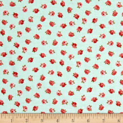 Love Song Little Roses Light Teal Fabric