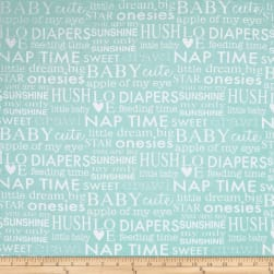Bro.ther Sis.ter Baby Talk Light Aqua Fabric
