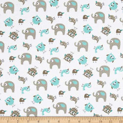 Bro.ther Sis.ter Animal Toss Aqua Fabric