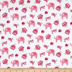 Bro.ther Sis.ter Animal Toss Light Raspberry Fabric