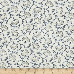 Blueberry Buckle Dotted Flowers Light Cream Fabric