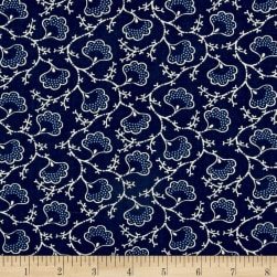 Blueberry Buckle Dotted Flowers Navy Blue Fabric