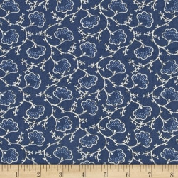 Blueberry Buckle Dotted Flowers Denim Fabric