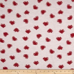 Novelty Cotton-Blend Jacquard Red Heart Fabric