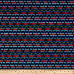 Detailed Stripe Jacquard Navy/Coral Fabric