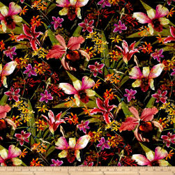 Raving Tides Digital Tropical Foliage Black Fabric