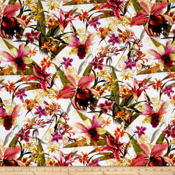 Raving Tides Digital Tropical Foliage White Fabric