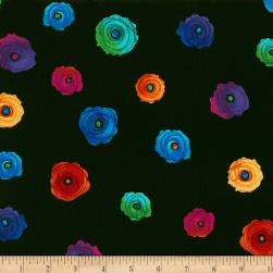 Timeless Treasures Fantasy Forest Spaced Flower Black Fabric