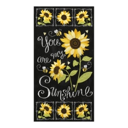 Timeless Treasures You Are My Sunshine Sunflower Chalkboard 23.5'' Panel Black Fabric