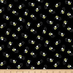 Timeless Treasures You Are My Sunshine Bees Black Fabric