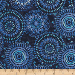 Timeless Treasures Butterfly Grotto Medallions Navy Fabric