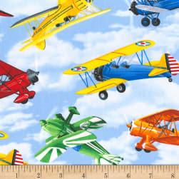 Timeless Treasures Propeller Planes Sky Fabric