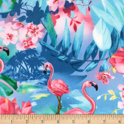 Timeless Treasures Oasis Tropical Foliage & Flamingos Ocean